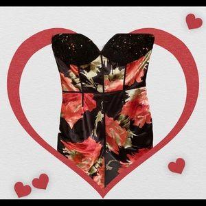 Sherri Hill Sequin Bodice Black Floral Dress 12 XC